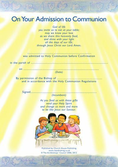Admission to Communion Certificates